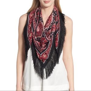 New Kate Spade Medallion Piano Shall, Red Scarf